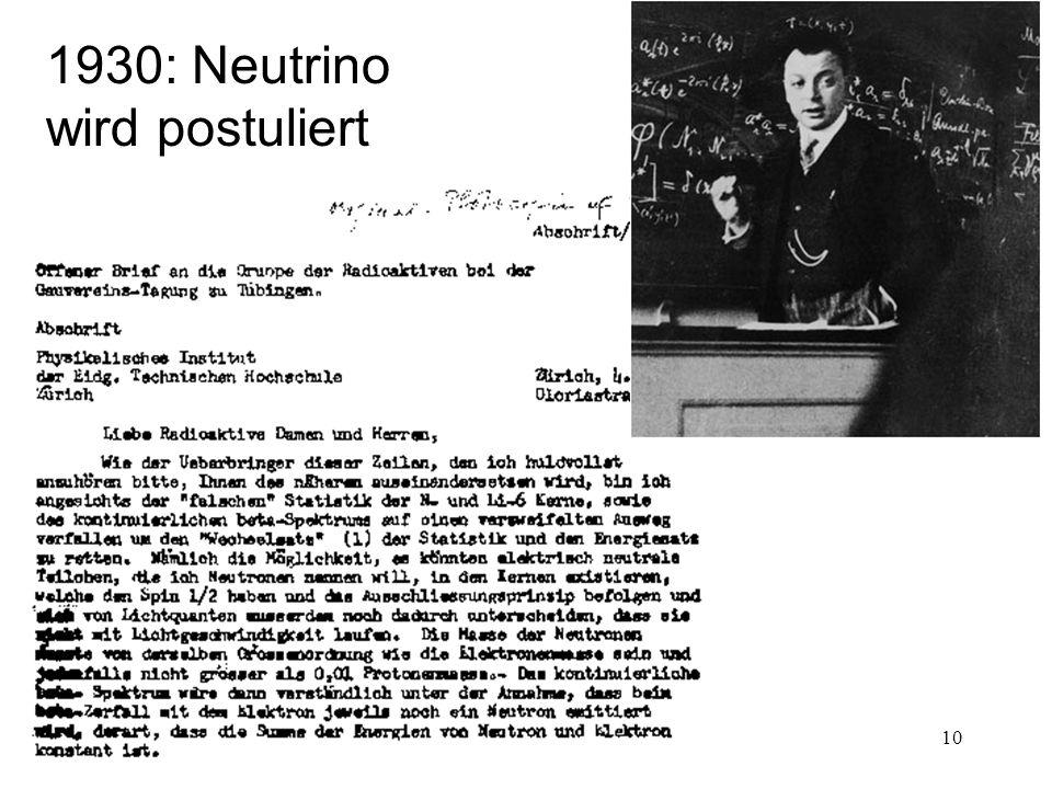 1930: Neutrino wird postuliert