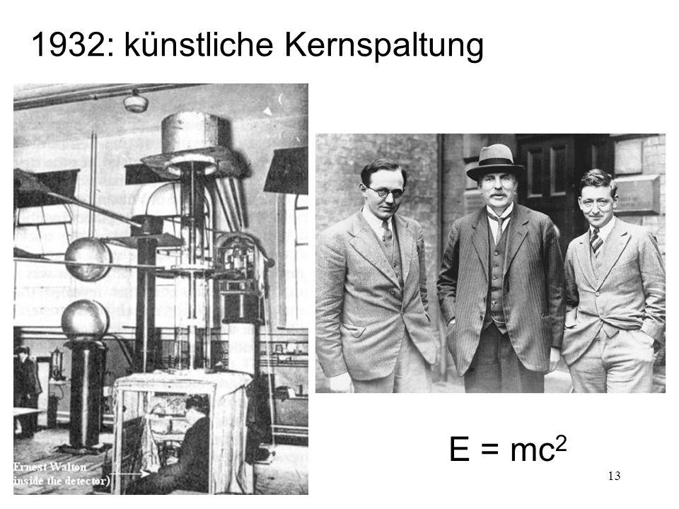 1932: künstliche Kernspaltung