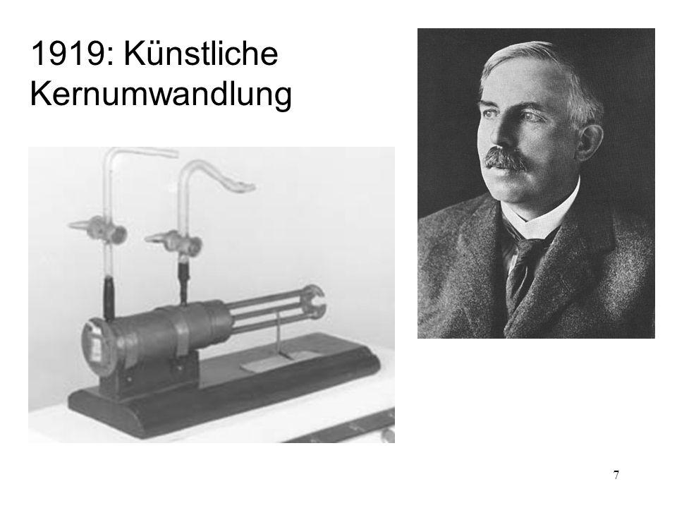 1919: Künstliche Kernumwandlung