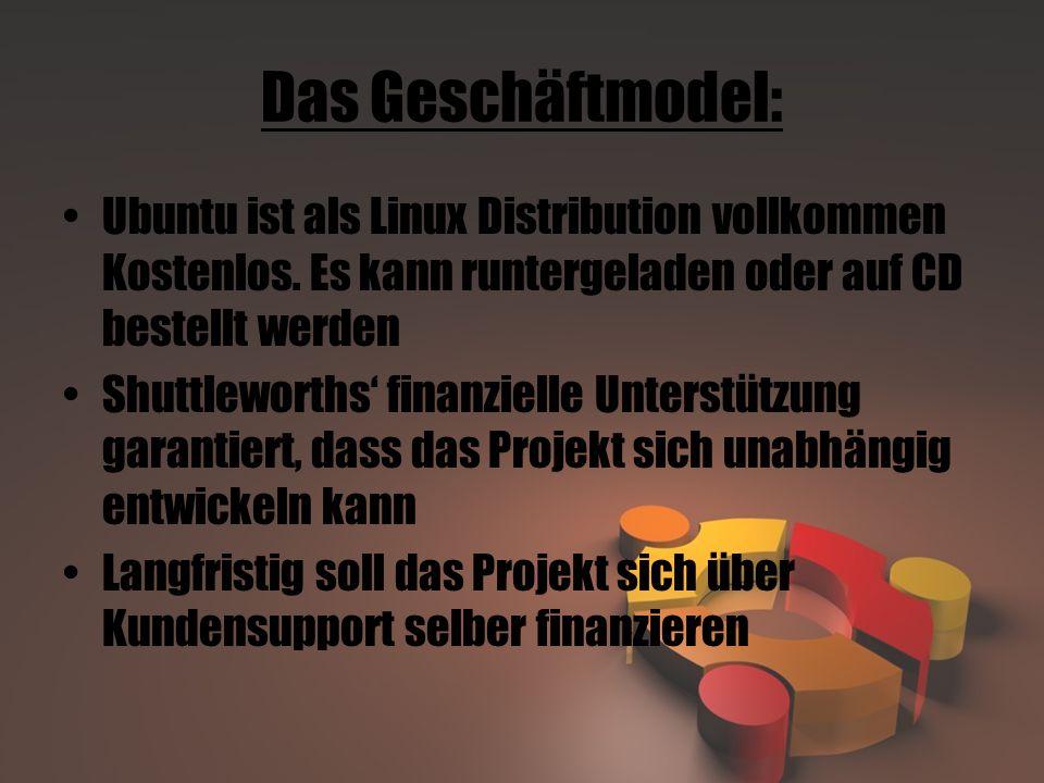 Das Geschäftmodel: Ubuntu ist als Linux Distribution vollkommen Kostenlos. Es kann runtergeladen oder auf CD bestellt werden.