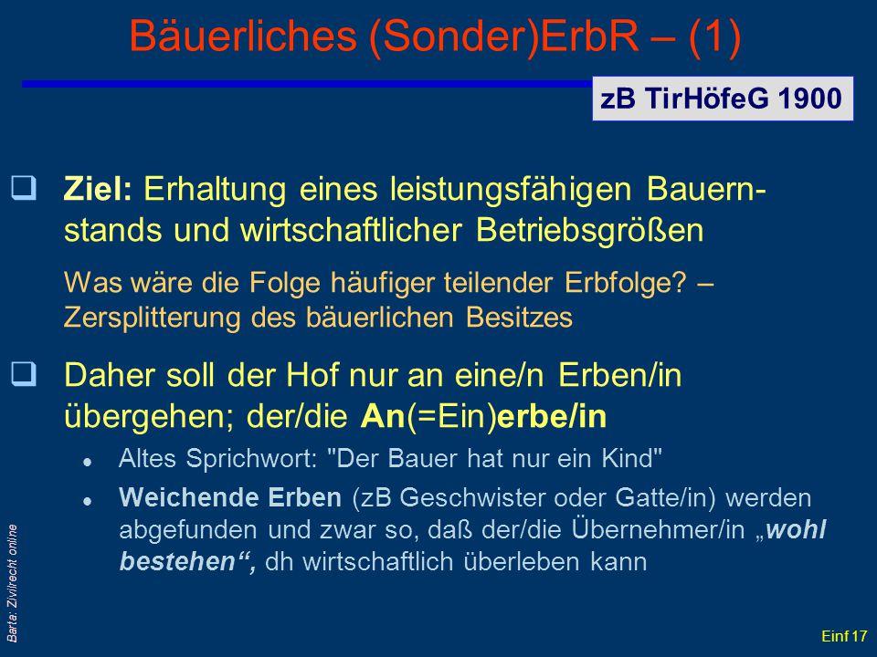 Bäuerliches (Sonder)ErbR – (1)
