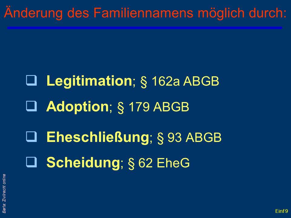 Änderung des Familiennamens möglich durch: