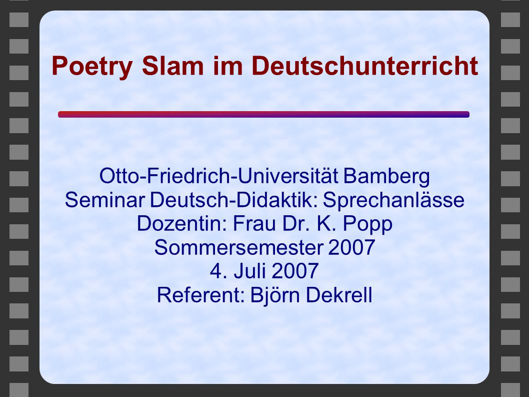 Poetry Slam im Deutschunterricht