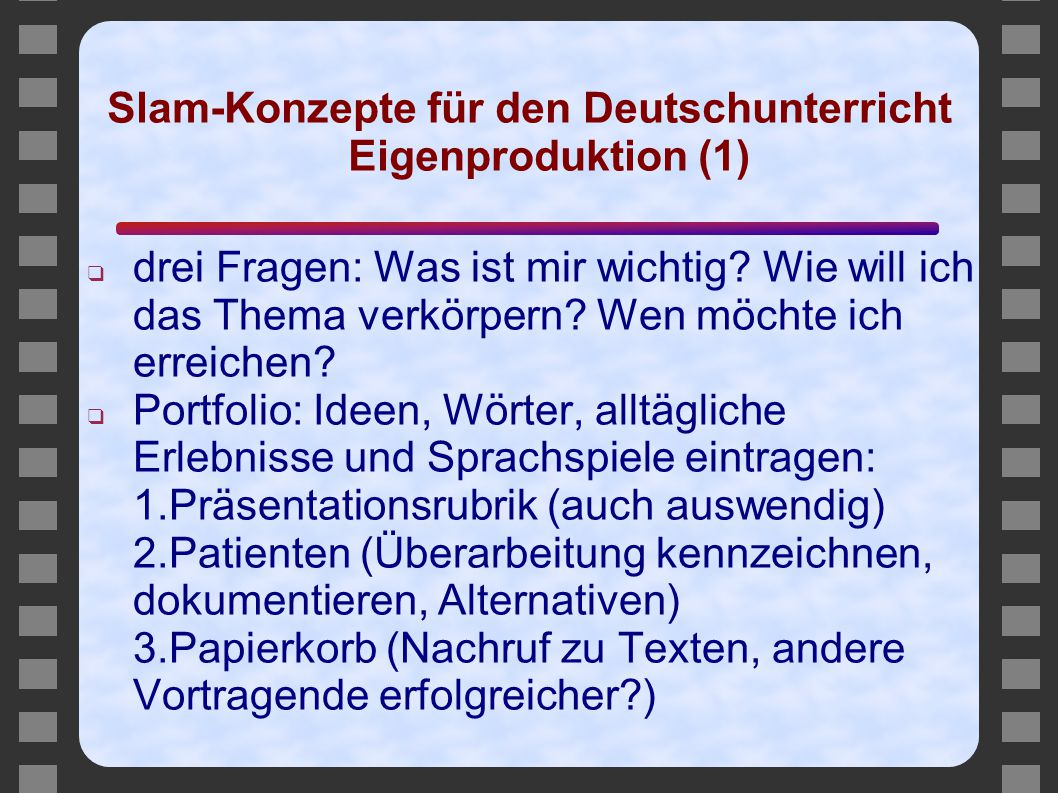 Slam-Konzepte für den Deutschunterricht Eigenproduktion (1)