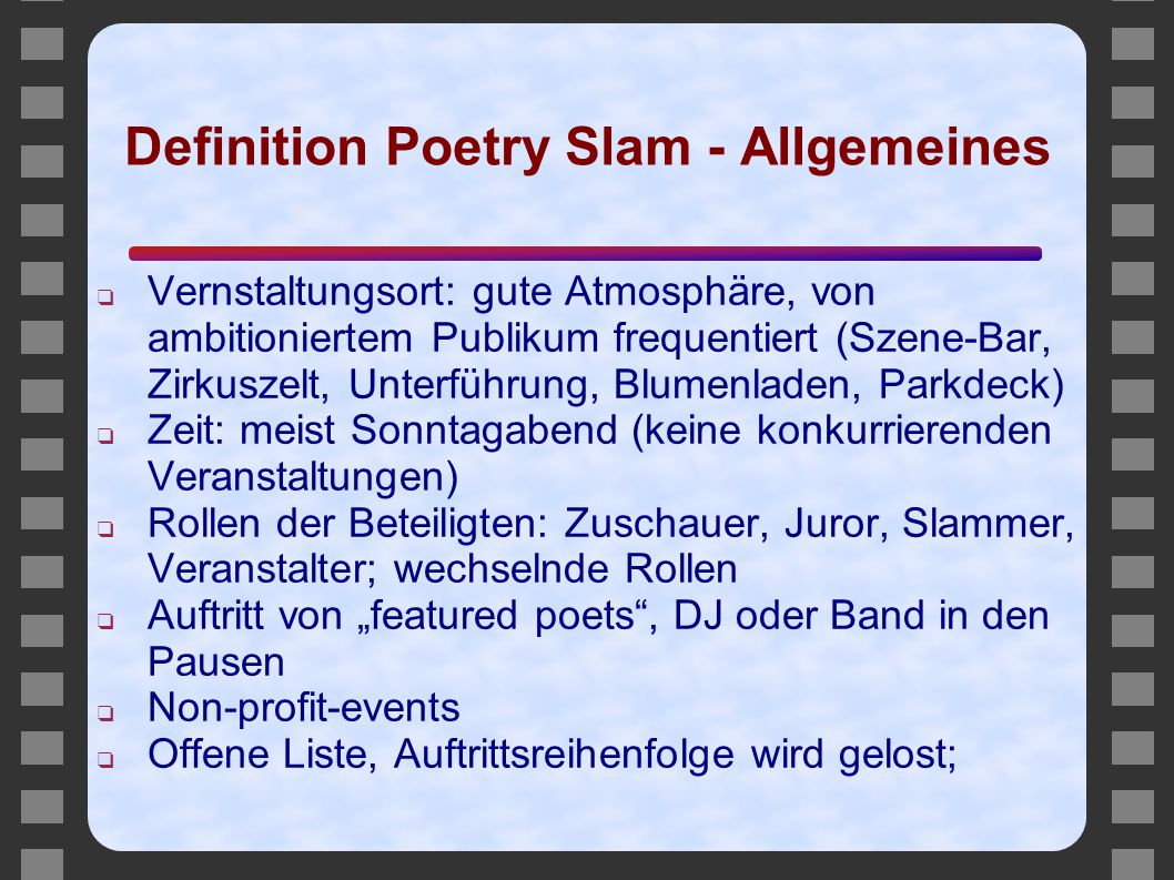 Definition Poetry Slam - Allgemeines