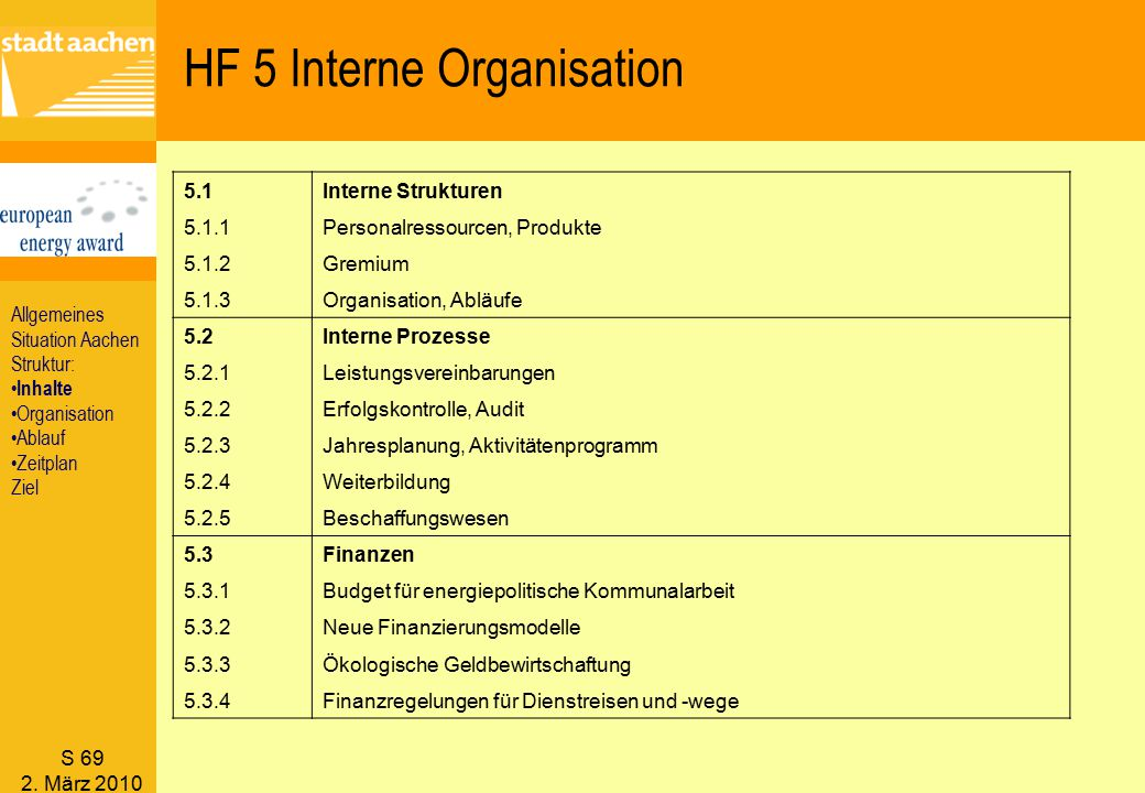 HF 5 Interne Organisation