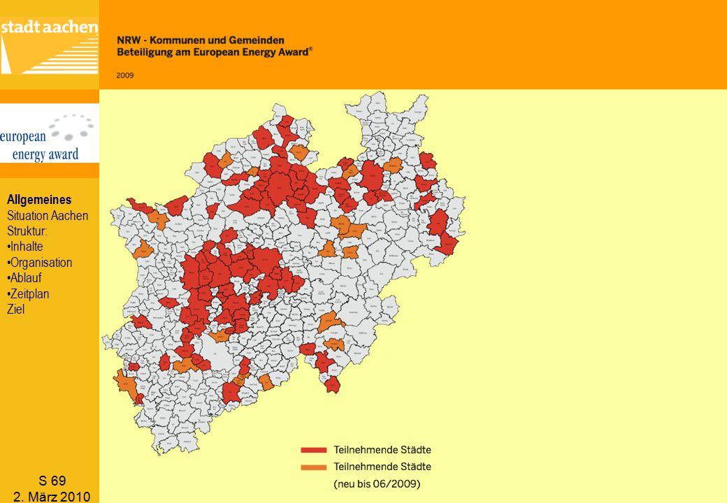 Allgemeines Situation Aachen Struktur: Inhalte Organisation Ablauf Zeitplan Ziel S 69 2. März 2010