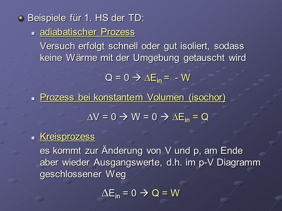 Ein = 0  Q = W Beispiele für 1. HS der TD: adiabatischer Prozess