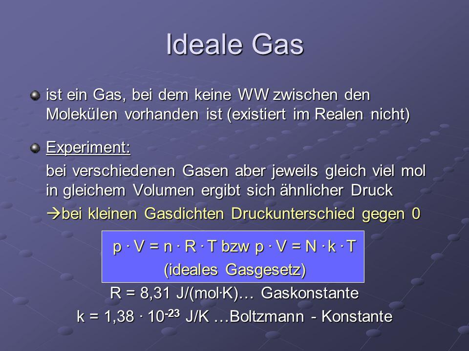 Ideale Gas ist ein Gas, bei dem keine WW zwischen den Molekülen vorhanden ist (existiert im Realen nicht)