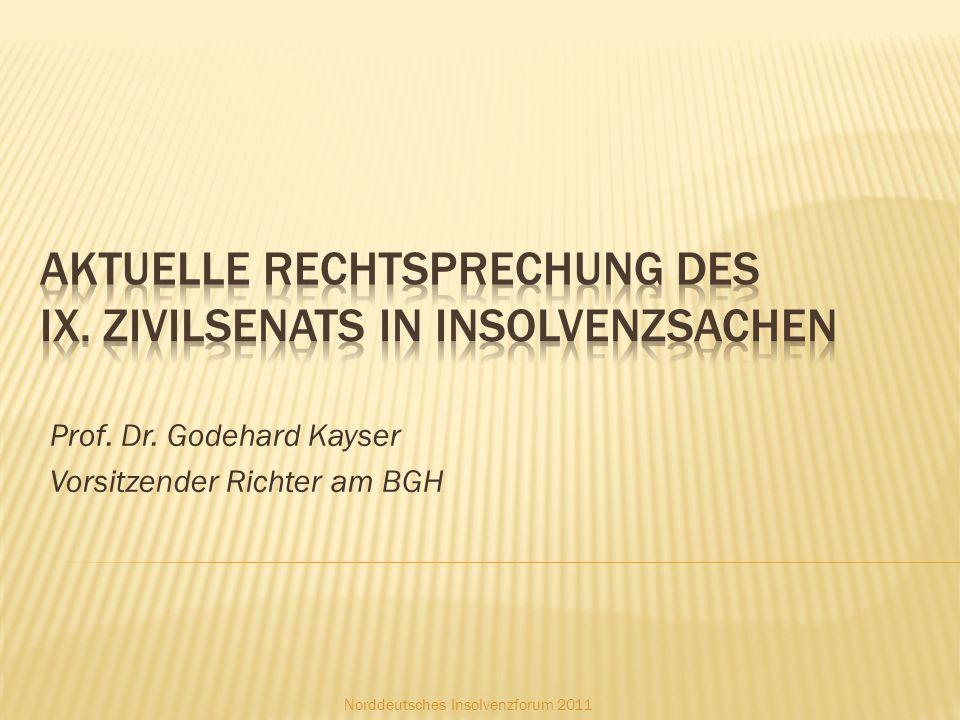 Aktuelle Rechtsprechung Des IX. ZivilSenats in Insolvenzsachen