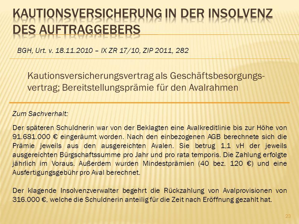 Kautionsversicherung in der Insolvenz des Auftraggebers