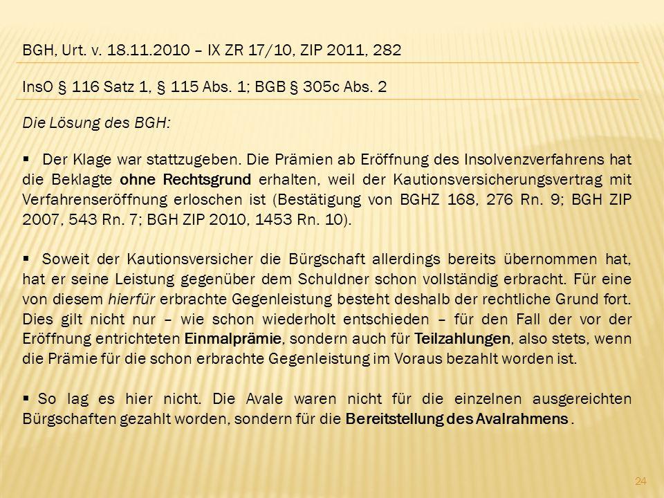 BGH, Urt. v. 18.11.2010 – IX ZR 17/10, ZIP 2011, 282 InsO § 116 Satz 1, § 115 Abs. 1; BGB § 305c Abs. 2.