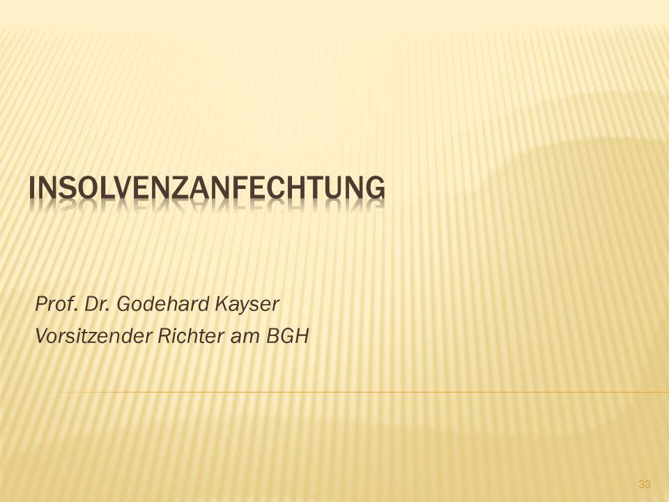 Prof. Dr. Godehard Kayser Vorsitzender Richter am BGH