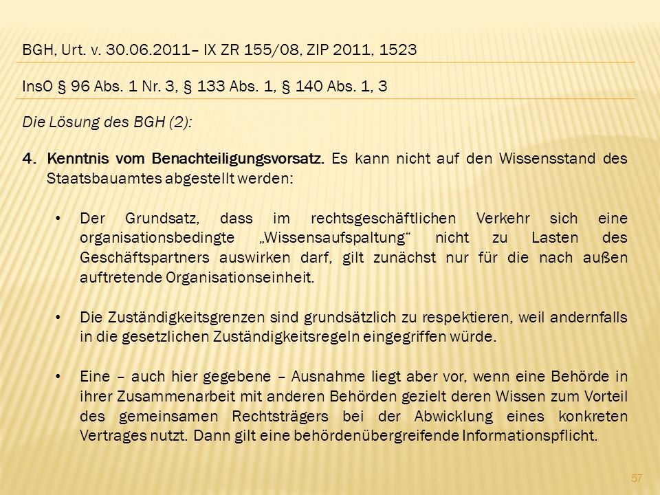BGH, Urt. v. 30.06.2011– IX ZR 155/08, ZIP 2011, 1523 InsO § 96 Abs. 1 Nr. 3, § 133 Abs. 1, § 140 Abs. 1, 3.