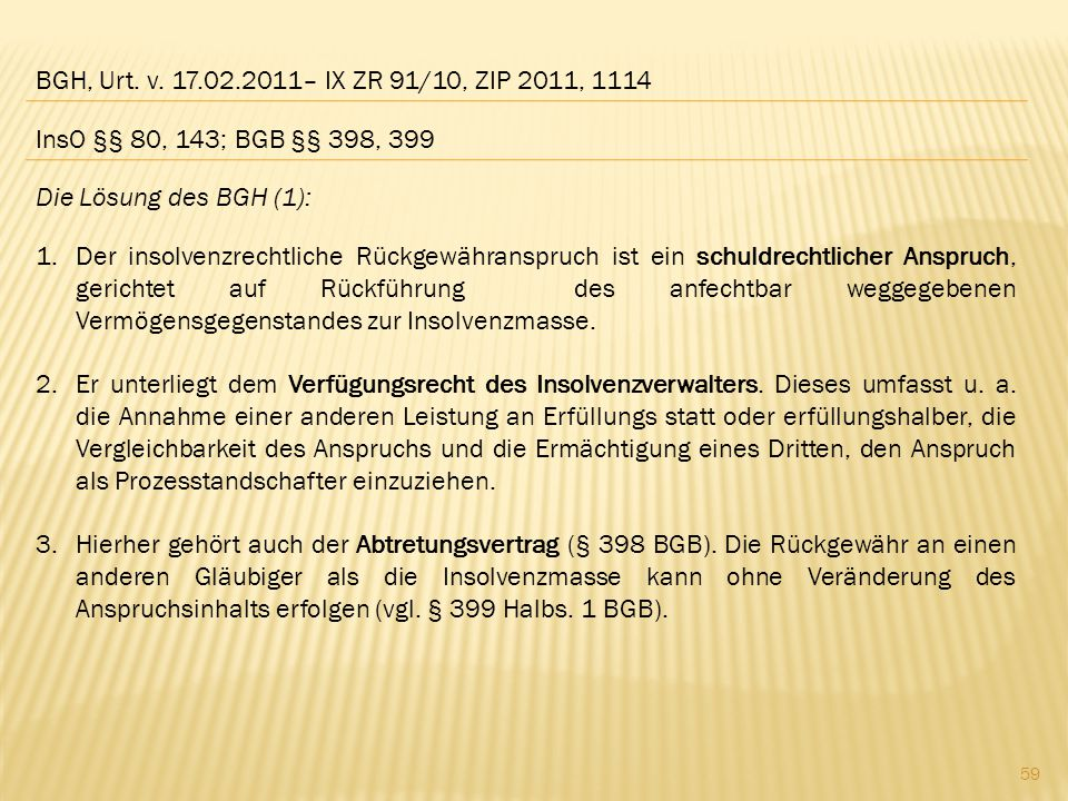 BGH, Urt. v. 17.02.2011– IX ZR 91/10, ZIP 2011, 1114 InsO §§ 80, 143; BGB §§ 398, 399. Die Lösung des BGH (1):