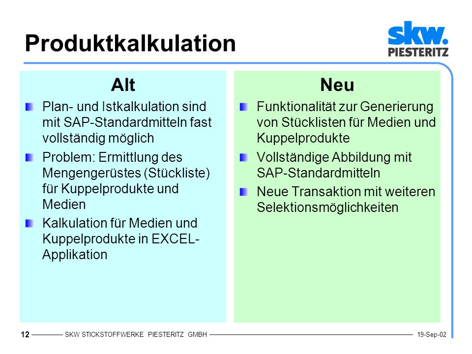 Produktkalkulation Alt Neu