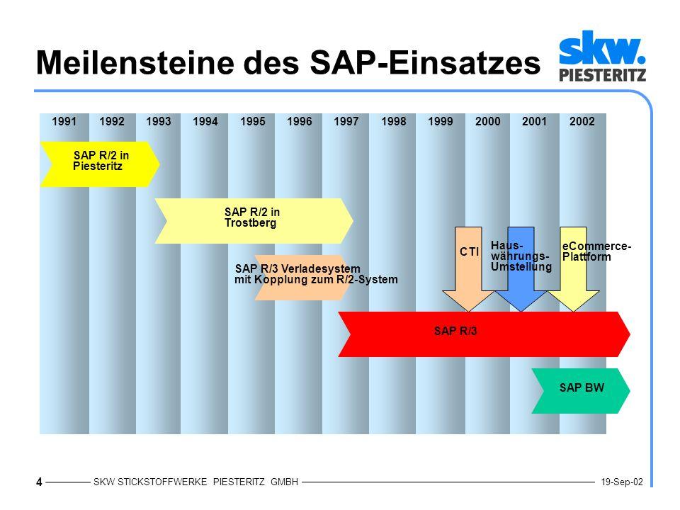 Meilensteine des SAP-Einsatzes