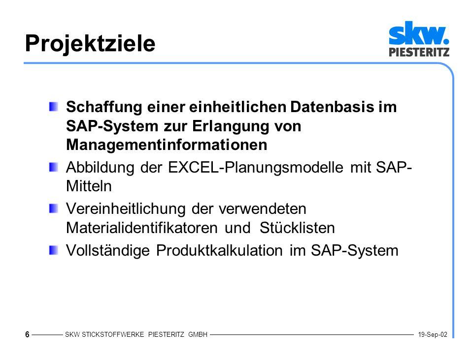Projektziele Schaffung einer einheitlichen Datenbasis im SAP-System zur Erlangung von Managementinformationen.