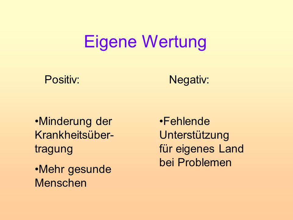 Eigene Wertung Positiv: Negativ: Minderung der Krankheitsüber-tragung