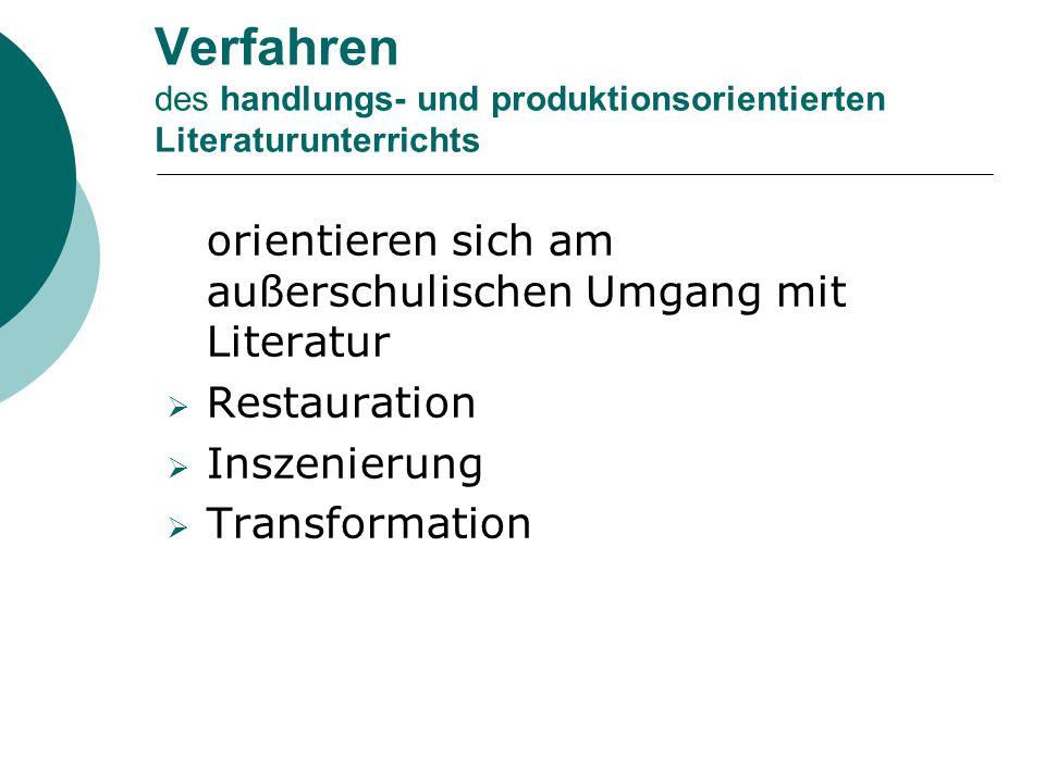Verfahren des handlungs- und produktionsorientierten Literaturunterrichts