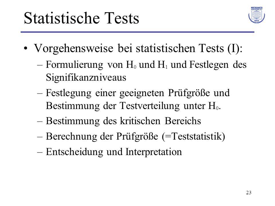 Statistische Tests Vorgehensweise bei statistischen Tests (I):