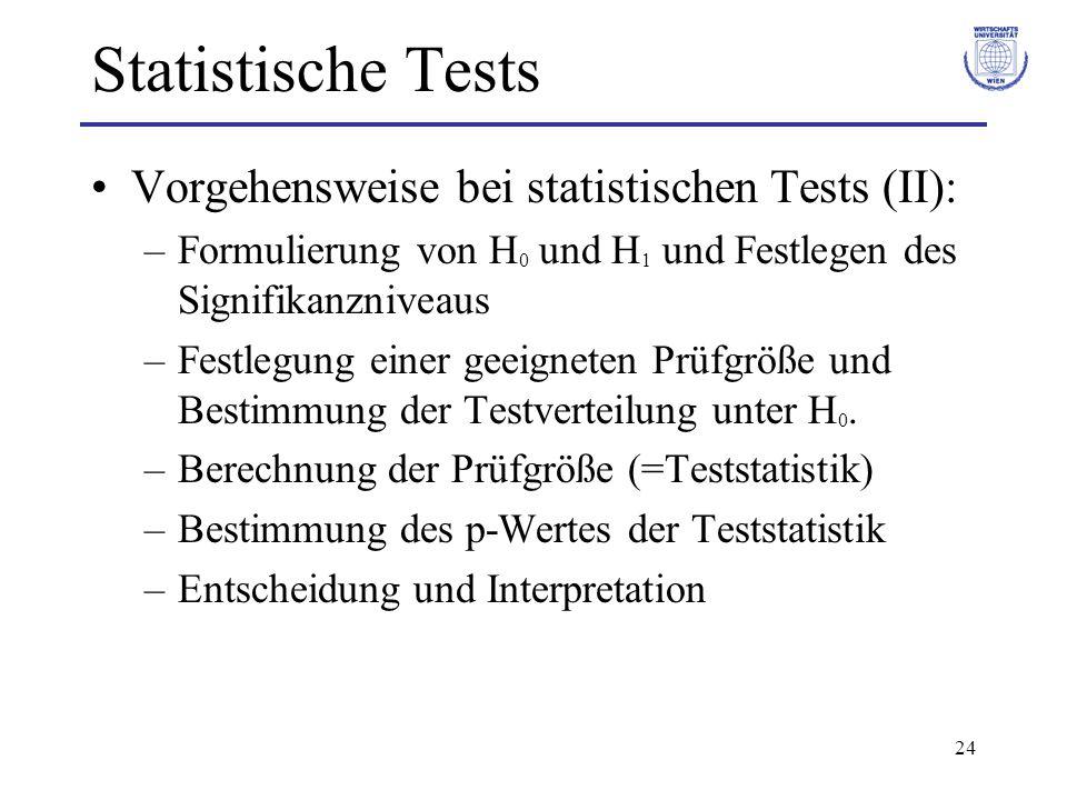 Statistische Tests Vorgehensweise bei statistischen Tests (II):