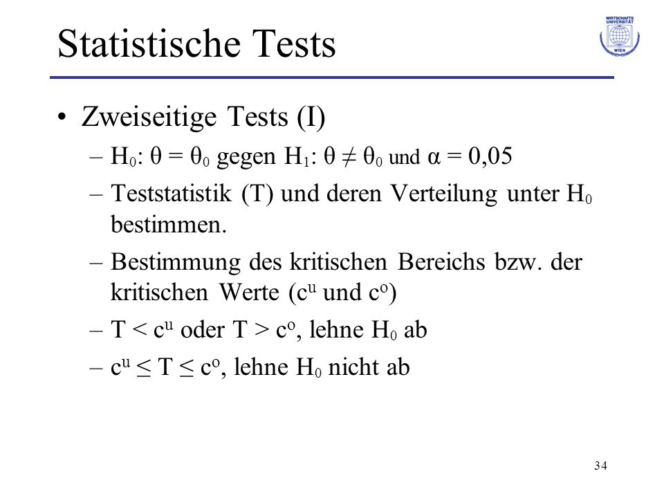 Statistische Tests Zweiseitige Tests (I)