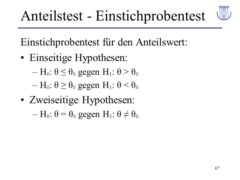 Anteilstest - Einstichprobentest