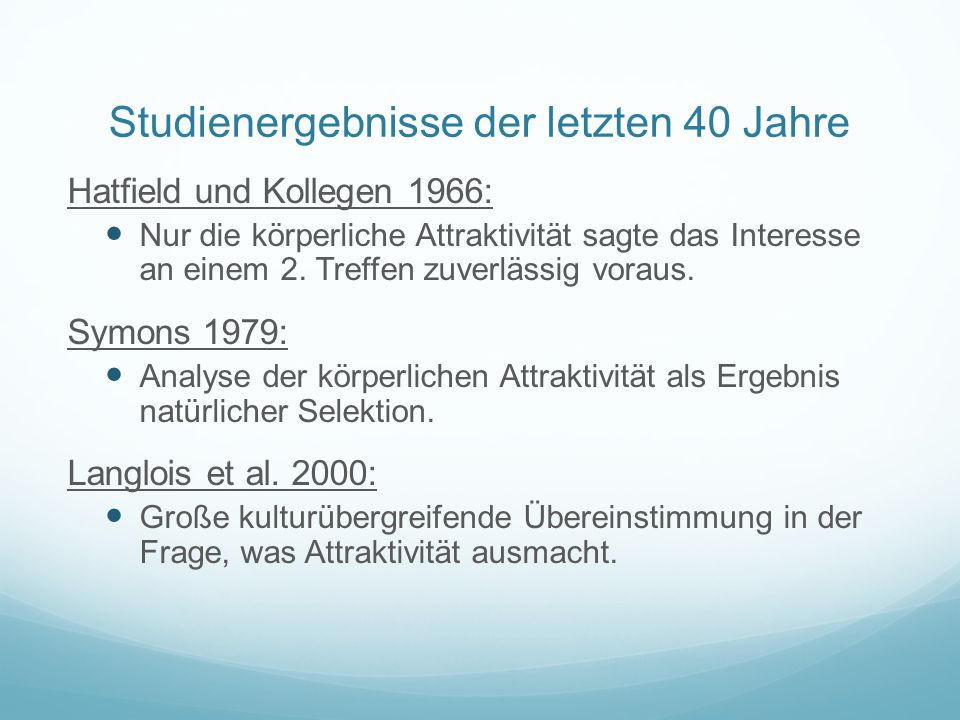 Studienergebnisse der letzten 40 Jahre