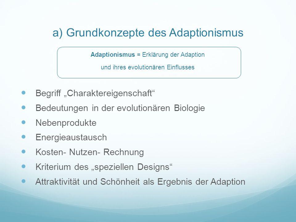 a) Grundkonzepte des Adaptionismus