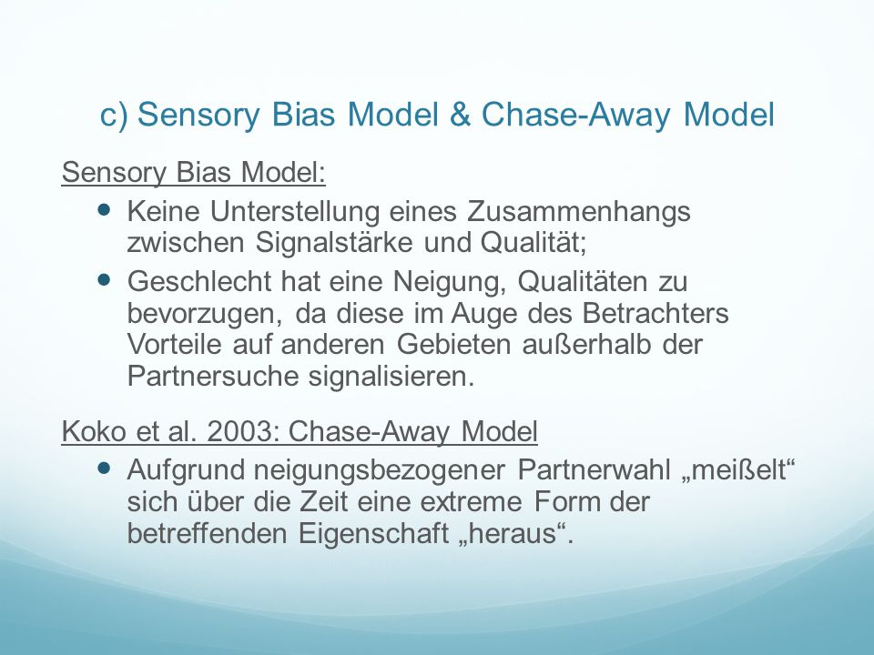 c) Sensory Bias Model & Chase-Away Model