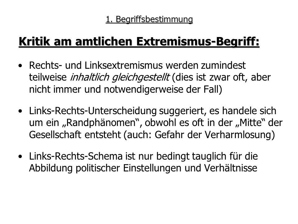 Kritik am amtlichen Extremismus-Begriff: