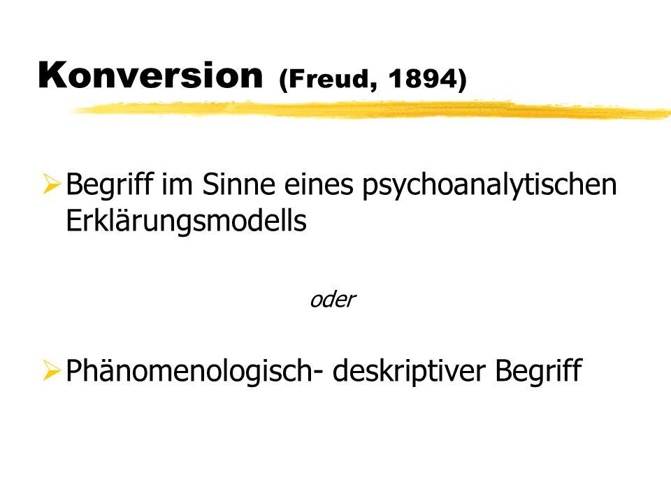 Konversion (Freud, 1894) Begriff im Sinne eines psychoanalytischen Erklärungsmodells.