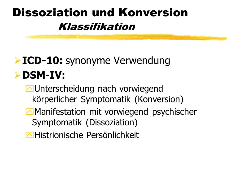 Dissoziation und Konversion Klassifikation