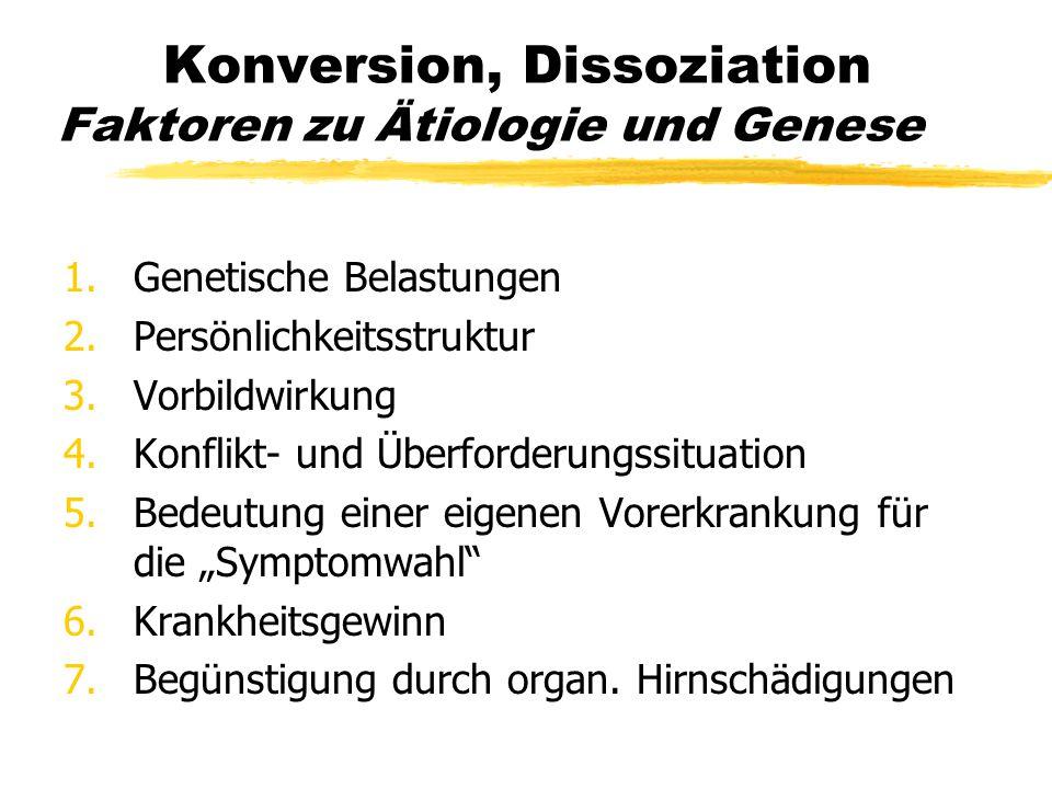 Konversion, Dissoziation Faktoren zu Ätiologie und Genese