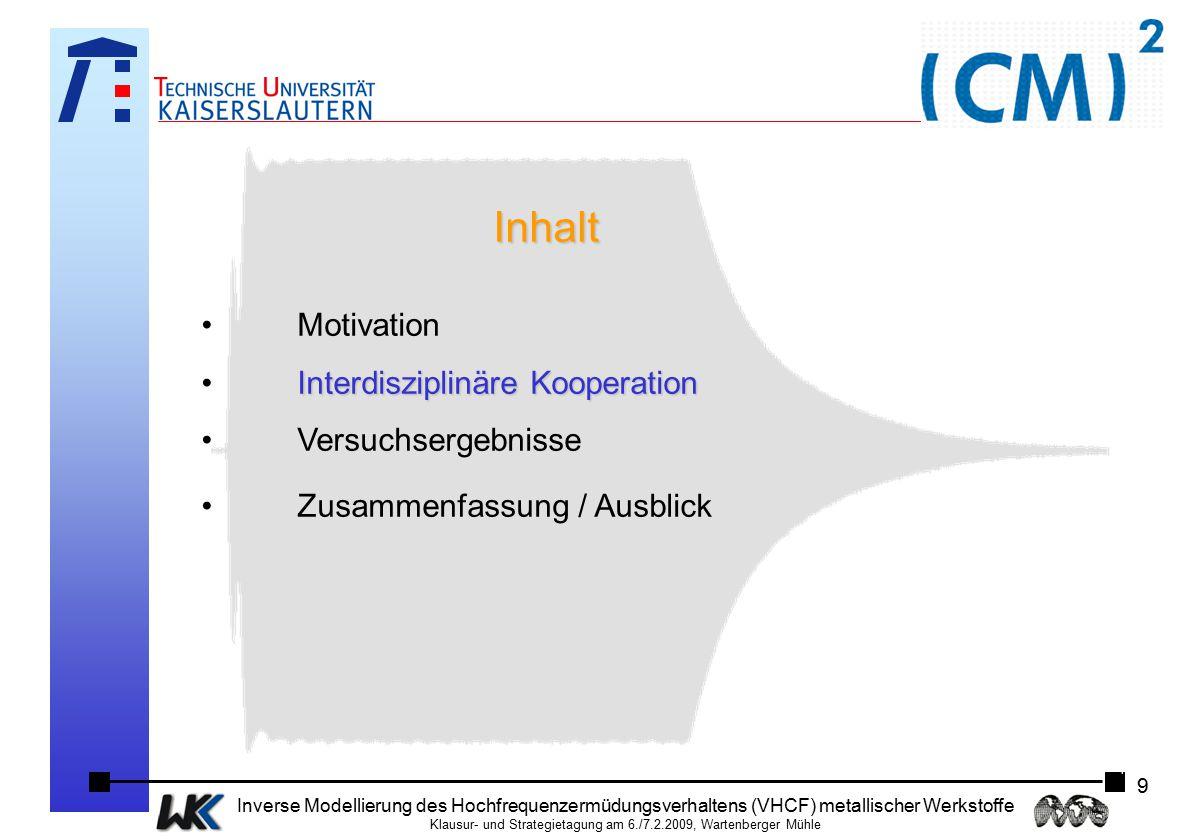 Inhalt Motivation Interdisziplinäre Kooperation Versuchsergebnisse