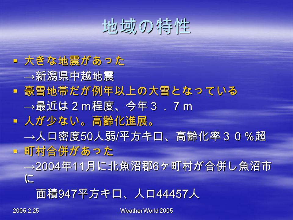 地域の特性 大きな地震があった →新潟県中越地震 豪雪地帯だが例年以上の大雪となっている →最近は2m程度、今年3.7m