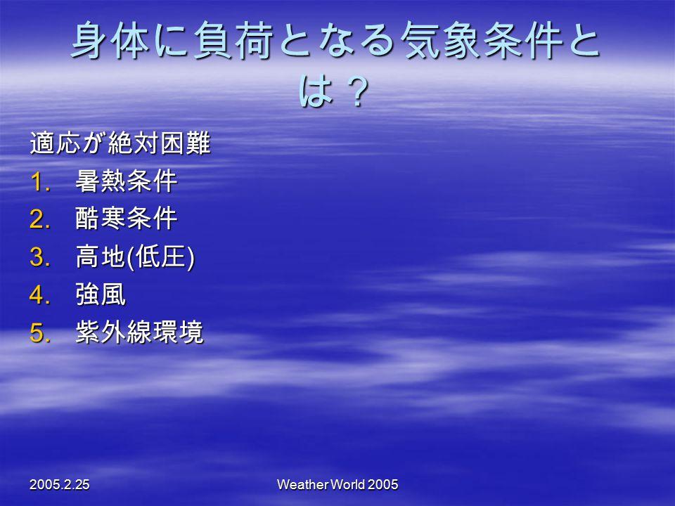 身体に負荷となる気象条件とは? 適応が絶対困難 暑熱条件 酷寒条件 高地(低圧) 強風 紫外線環境 2005.2.25
