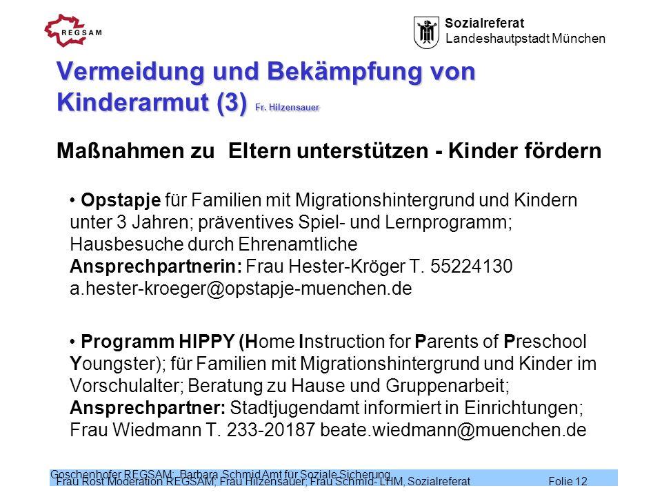 Vermeidung und Bekämpfung von Kinderarmut (3) Fr. Hilzensauer