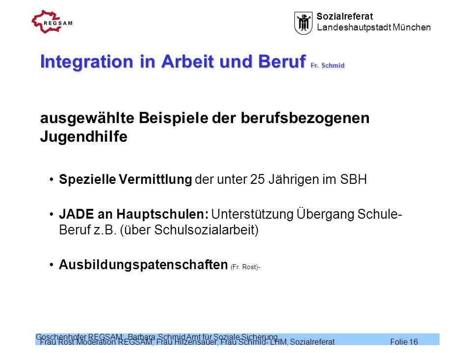 Integration in Arbeit und Beruf Fr. Schmid