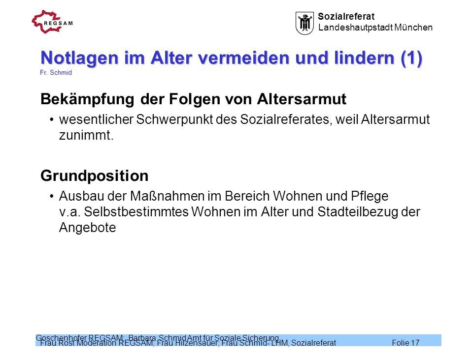 Notlagen im Alter vermeiden und lindern (1) Fr. Schmid