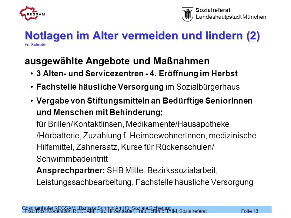 Notlagen im Alter vermeiden und lindern (2) Fr. Schmid