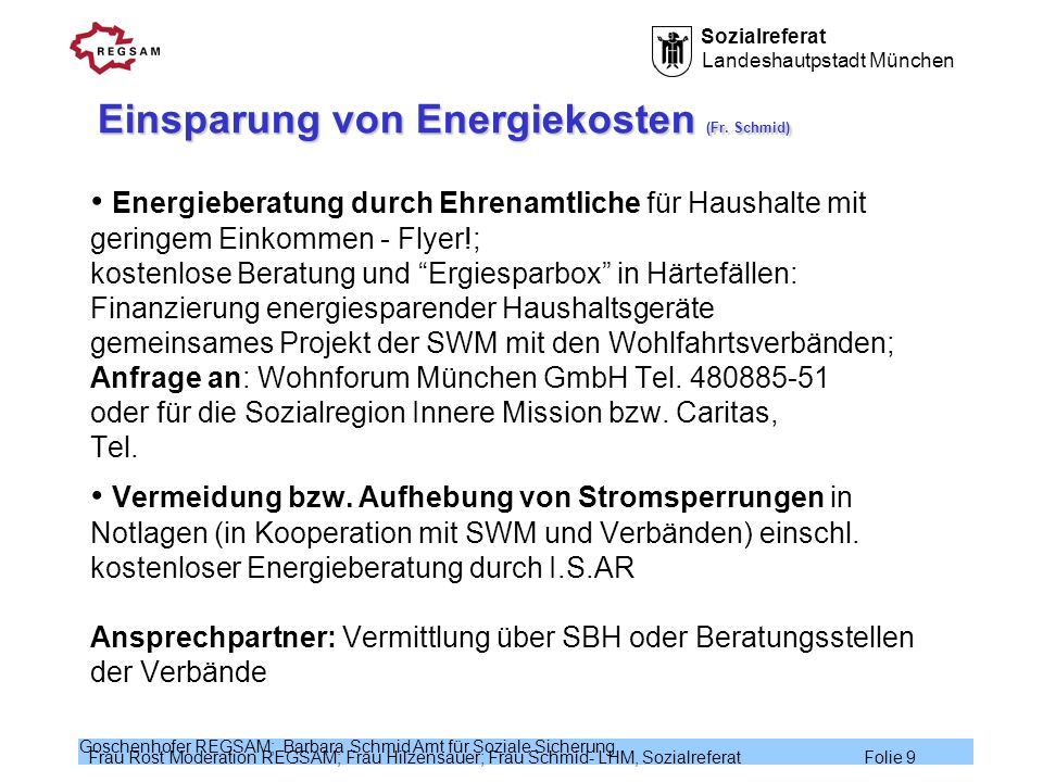 Einsparung von Energiekosten (Fr. Schmid)