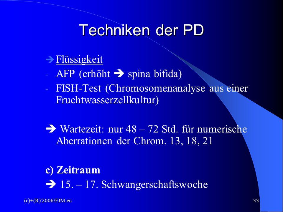 Techniken der PD Flüssigkeit AFP (erhöht  spina bifida)