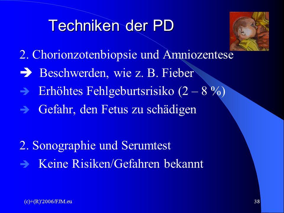 Techniken der PD 2. Chorionzotenbiopsie und Amniozentese