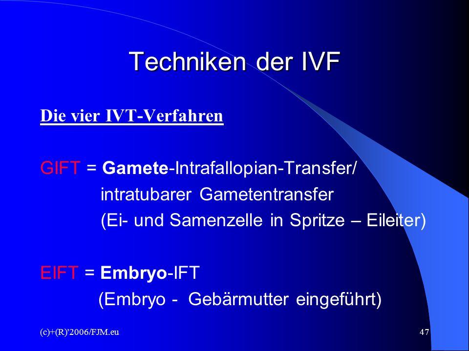 Techniken der IVF Die vier IVT-Verfahren