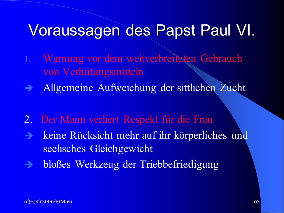 Voraussagen des Papst Paul VI.
