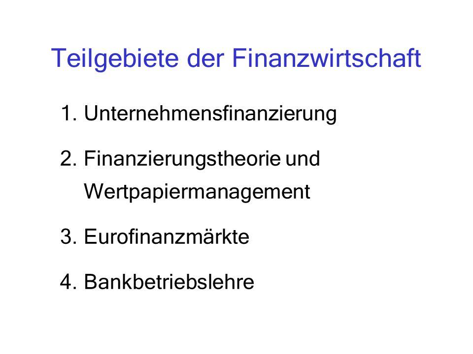 Teilgebiete der Finanzwirtschaft