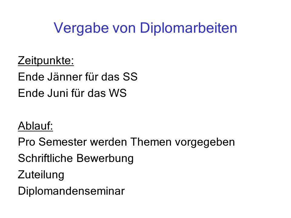 Vergabe von Diplomarbeiten