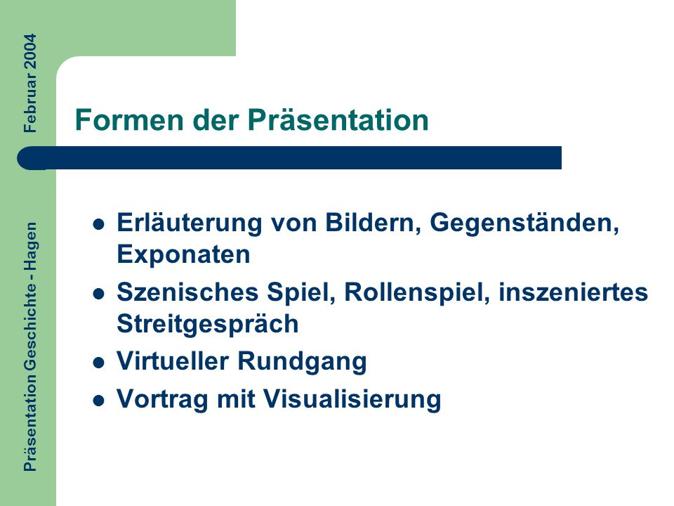 Formen der Präsentation